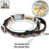 LOSY PET Nylon Hundehalsband, Hunde Halsband mit Haltegriff, Sicherheitsverschluss weich Verstellbare Halsband für mittlere/große Hunde - L