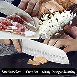SKY LIGHT Kochmesser Japanisch Santoku Messer Küchenmesser mit Kullenschliff, extrem Scharf Rostfrei Deutsch Edelstahl Universalmesser 17 cm mit ergonomisch geformter Griff - 3