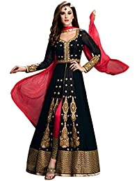 Fashionsurat Women's Georgette Black & Red Semi-Stitched Anarkali Salwar Suit