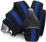 Decalen Bretelles Homme Larges Réglable Élastique Extra Fort 3 Clips en forme Y (Noir Bleu 1)