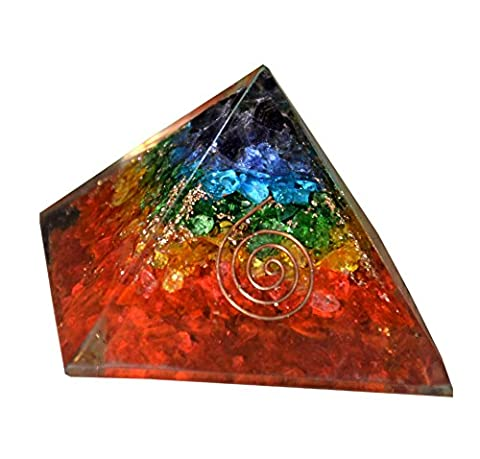 Aatm Reiki Energized chakra healing 7 Chakra Orgone Pyramid With Clear Crystal Gemstone Copper Metal / EMF Protection Meditation Yoga Energy