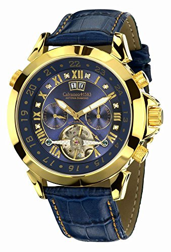 Calvaneo 1583–Reloj de pulsera hombre Astonia Diamond oro Blue analógico automático piel azul 107904