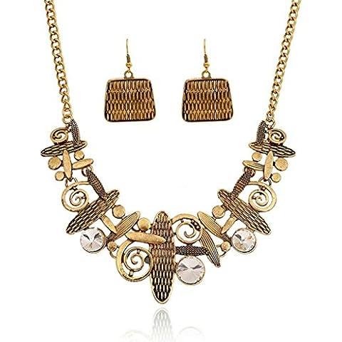 AnaZoz Joyería de Moda Juegos de Joyas de Mujer Aleación Collar de Cristal Geométricos Cadena de Clavícula Collar y Pendientes Dos Piezas Juegos de Joyas Color Oro
