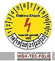 100 Stück Plaketten - Aufkleber - E-Check 2018-2023 / 30mm Elektro Check Prüfplakette aus Siegelfolie / Dokumentenfolie