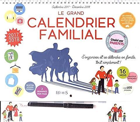 Calendrier Septembre - Le grand calendrier familial : Septembre 2017-Décembre