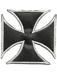 losparches Parche bordado termoadhesivo CRUZ DE MALTA NEGRA 8cm c8baf8edfe8