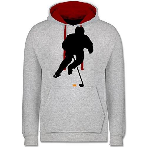 Eishockey - Eishockey Spieler - Kontrast Hoodie Grau Meliert/Rot