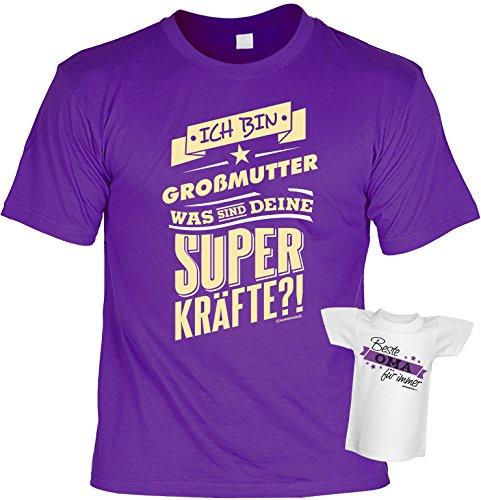 T-Shirt für Oma - Ich bin Großmutter, was sind Deine Superkräfte?! Mit einem gratis Minishirt! Farbe: lila Violett