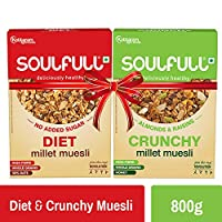 Soulfull Millet Muesli - Diet + Crunchy Combo Pack, High in Fibre & Protein (800g)