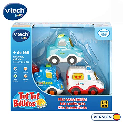 VTech- TutTut Bólidos Pack 3 Coches. Grúa, Ambulancia, Turismo, Color (3480-242187)