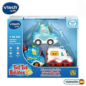 VTech TutTut Bólidos Pack de 3 vehículos con botón Sorpresa, Lula camión grúa, Nina la Ambulancia y Pilar Coche Familiar, Multicolor (3480-242187)
