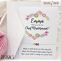 Treasured Forever Personalised Will You Be My Bridesmaid Card? Wish Bracelet Gift Pop the Question - Various questions & Designs | Design 3