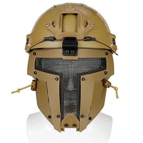 Waroomss Máscara facial táctica protectora Airsoft Máscara casco para casco de guerra...