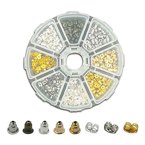 Verschlüsse für Ohrstecker 8 Stil 400stk Ohrstopper Ohrring Stopper Ohrmutter für Stecker DIY Schmuck Gold Silber Bronze Schmetterling & Kugel Form - Gold-ohrring-stopper