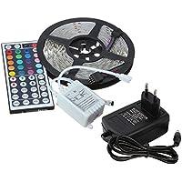 Logobeing 5M RGB 5050 300 LEDS RGB luces de tira, Luz de tira Flash SMD adaptador de la fuente de alimentación 12V 44 Key,Decorativas LED Franja de fiesta,exposición de la demostración (A)