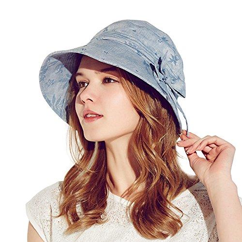 Kenmont femmes d'été dame seau vacances à la plage chapeau soleil à larges bords de bouchon Bleu