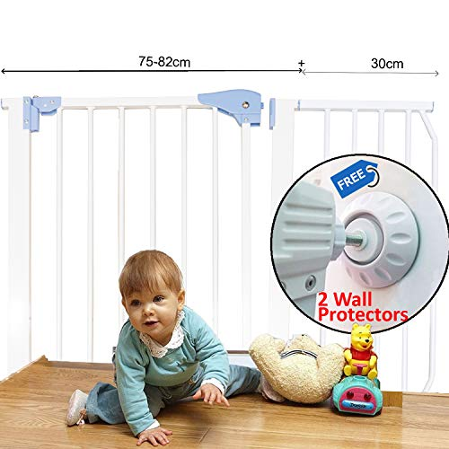 Kiddale Extra Long Safety Gate(Barrier,Fence) For Dogs, Pets, Infants & Babies 108Cm To 122Cm- With Optional Plastic Cups For Permanent Fixing.
