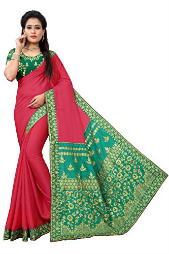 Magneitta Silk Saree With Blouse Piece (97079_Red_Free Size)
