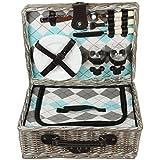 zq1–2050a moda, Washed mimbre cesta de picnic para 2personas con platos de cerámica y copas de vino