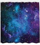 Abakuhaus Duschvorhang, Galaxie mit Sternen Farbvolle Fantastische Darstellung des Universums Planeten Kosmos Mehrfarbig, Wasser und Blickdicht aus Stoff mit 12 Ringen Schimmel Resistent, 175 X 200 cm