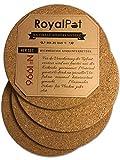 RoyalPot Topfuntersetzer Hitzebeständig (245°C) mit 19cm Ø | 4er Set aus Kork, Untersetzer für Töpfe Rund Groß | Korkuntersetzer/Pfannenuntersetzer für Flächen Aller Art