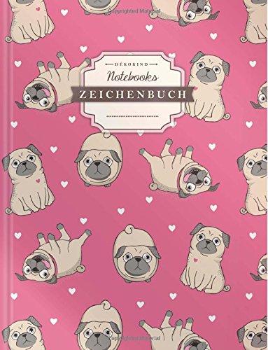 DÉKOKIND Zeichenbuch | DIN A4, 122 Seiten, Register, Vintage Softcover | Leeres Buch zum Selbstgestalten | Motiv: Mops Welpen Leere-seiten-buch