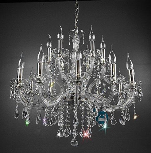 Lampadario 18luci con candele huelsen gefertig aus spectra® crystal abeti di swarovski argento