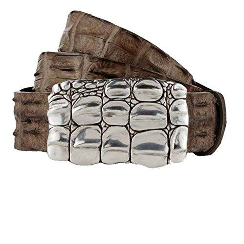 GUT INSTINKT - Cinturón de piel de cocodrilo real de cuero italiano de lujo artesanal - JARRAKAN (Barro 90cm)