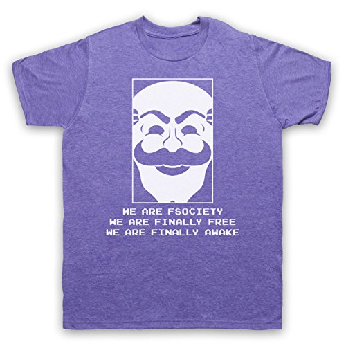 Mr Robot We Are Fsociety We Are Finally Free We Are Finally Awake Herren T-Shirt Jahrgang Violett