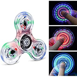 Longruner Fidget Toys Spinner Rainbow LED EDC 18 Modes Flashing Light On Toy Perfect For Kids Adults Helps to Relieve Stress – Fear Of A Boredom High Speed (Colour/Rainbow),crystal