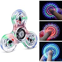 Longruner Fidget Toys Spinner Rainbow LED Lights Up Flashing Plating Surface Spinner Toys EDC Gift for Child Adult Helps Anti-Anxiety Focusing Boredom Stress Reducer High Speed Up to 1.5-2.5 Minutes (Colorful)