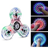 Longruner Fidget Toys Spinner Rainbow LED EDC 18 Modes Flashing