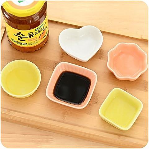 6pcs/lot saludable de cerámica condimento platos cocina vajilla plato pequeño para Dim Sum, Salsa, vinagre, sal