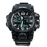 HUKOER Waistwatch Mens Watch grande manopola digitale orologio resistente all'acqua Guardare Calendario orologi sportivi Allarme Cronometro orologio Dual Time orologio di visualizzazione (Nero)