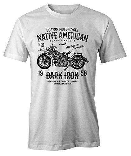 Custom Motorcycle Dark Iron Two Wheels Old Indian Classic Retro T-Shirt Herren Weiß XX-Large - Indian Motorcycle T-shirt