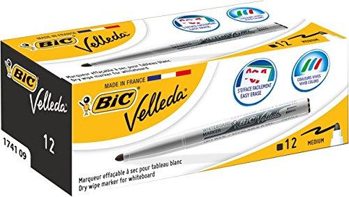 bic-velleda-1741-marcatore-cancellabile-per-lavagna-confezione-12-marcatori-cancellabili-colore-nero