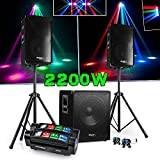 PACK SONO DJ 2200W CUBE 1512 avec CAISSON + ENCENTES + PIEDS + CABLES + Spider Micro RGBW Ghost