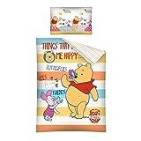 """Copripiumino Cotone Disney Winnie The Pooh Per Lettino 100x135 Cm Federa 40x60 Cm """"Happy"""""""