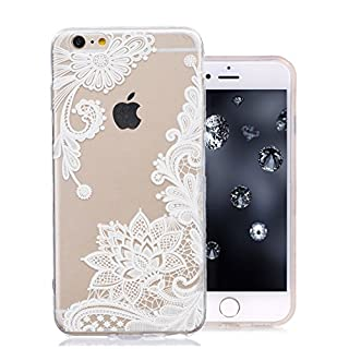 Aeeque iPhone 6S Case, iPhone 6S Transparent White Lace Flowers Pattern and ULtra Thin Soft Crystal Silicone Flexible Back Bumper [Shock Absorption] Protection Cover for iPhone 6/6S 4.7 inch