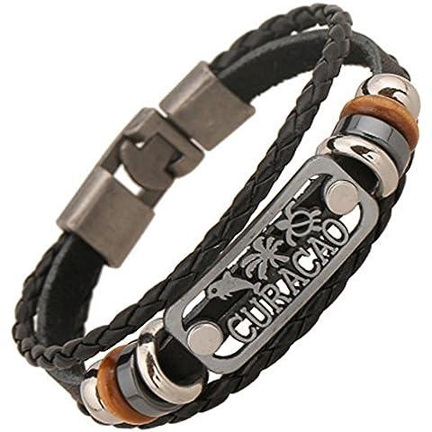 SaySure - Vintage Punk Bead Handmade Black Leather Bracelet (Black Tortoise Charm)