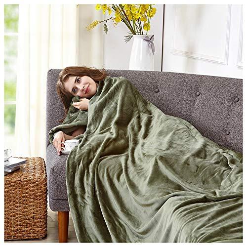 TV Decke Flanell Doppelschicht Verdicken Leichte Freizeit Sofa Quilt Geeignet Für Home Office Reise Strand Bett Sofa Decke (Color : Green, Size : 260 * 229cm) -