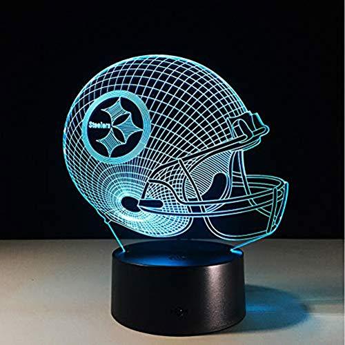 SJSF L 7 Farben Ändern 3D LED Nachtlicht, Für NFL Team Pittsburgh Steelers Football Helm, Berührungssensor USB Tischlampe Wohnkultur Kinder Geschenk,7colortouch