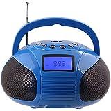 August SE20 - Mini Système Stéréo MP3 Bluetooth - Radio Portable avec Haut-Parleur Bluetooth Puissant - Radio Réveil FM avec Lecteur de carte SD, de clé USB et Port Auxiliaire (Micro USB) - Enceinte Stéréo 2 x 3W avec Batterie Rechargeable (Bleu)