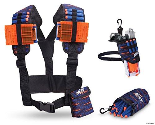 Mobile Holster (Nerf Elite Mobile Gear Pack 11522 beinhaltet Taktikweste, Dart Beutel und Hüftholster, verstellbar aus hochwertigem Nylonmaterial im stylischen Nerf Elite Design)