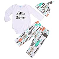 Toddler 0-24 Months Baby Boys 3 Pieces Little Brother Letters Printed Long Sleeve Bodysuit Tree Trouser and Hat (70 (0-6M), White)