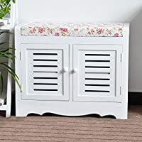 EXQUI Wooden White 2 Tier Storage Cabinet Storage Bench with Padded Seat and 2 Doors Hallway,Bathroom and Bedroom Furniture,62x35x50cm, D202W