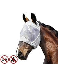 Harrison Howard CareMaster Masque de protection anti-mouche Anti-UV Sans Oreilles Argent (Poney (S))