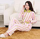 GZZ Home Hotel Bademantel Robe Lovers Lose Pyjamas Flanell Dicke Breathable Home Kleidung Anzug Comfort Fashion Unterwäsche Pyjamas,Groß,Frau