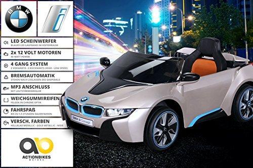 nuevo niña Coche eléctrico Con licencia Original BMW I8 con 2 x 45 Watt Motor Electro Coche niños Vehiculo infantil - Goldmetallik, **Kinder**