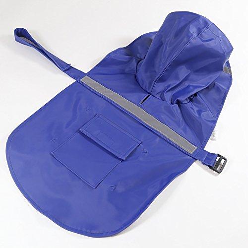 Hunderegenmantel mit Harness Hole Wasserdichte Leichte Reflektierende Streifen Einstellbare Haustier Jacke mit Tasche Atmungsaktive Regenkleidung Kleidung für Kleine Mittelgroße Hunde / Puppys Blau-XXL (Halloween Taschen Reflektierende)